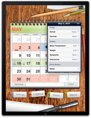 Ovulation Calendar in Portrait View