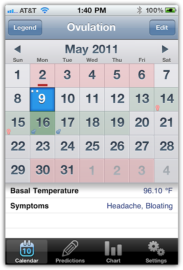 Click to view Ovulation Calendar 5.0 screenshot